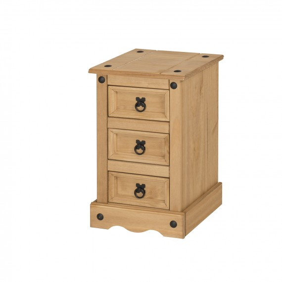 Corona Narrow 3 Drawer Bedside