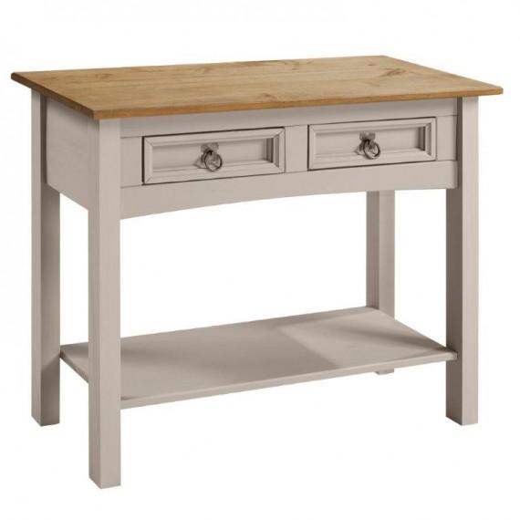Corona Grey Wax 2 Drawer Console Table
