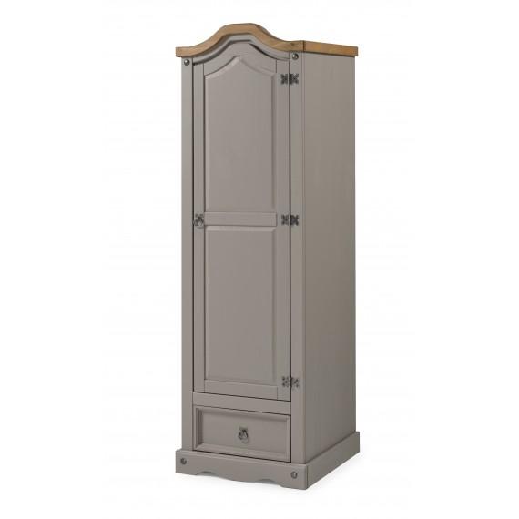 Corona Grey Wax 1 Door 1 Drawer Arch Top Wardrobe