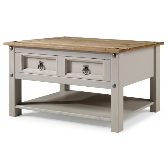Corona Grey Wax 2 Drawer Coffee Table