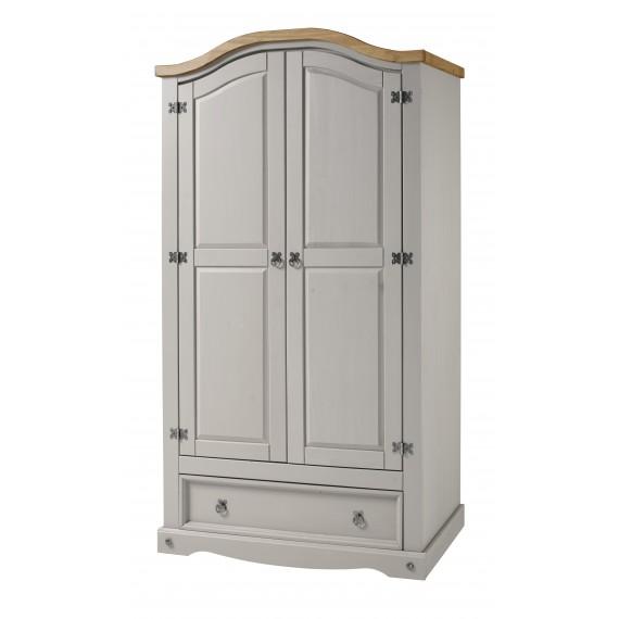 Corona Grey Wax 2 Door 1 Drawer Arch Top Robe