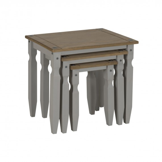 Corona Grey Wax Piccolo Nest of Tables